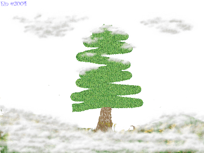 [Stark snow-covered landscape with a solitary, snow-laden pine tree]