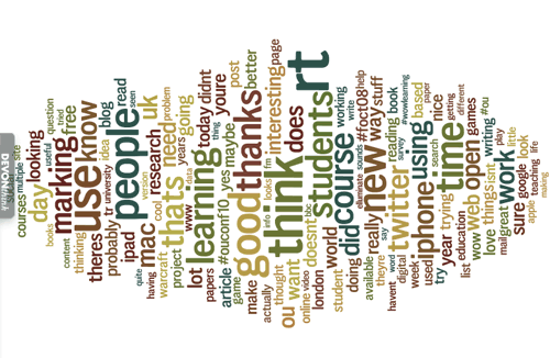 Screenshot of a Wordle word cloud of Michelle's most commonly tweeted words