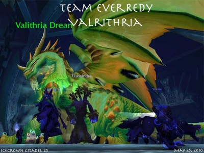 Image of Valithria Dreamwalker successfully healed in Icecrown Citadel 25-person raid instance