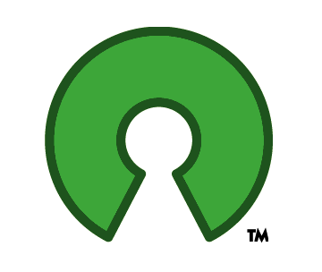 Open Source Initiative's Open Source 'O' logo with the chunk taken out of it to make it open