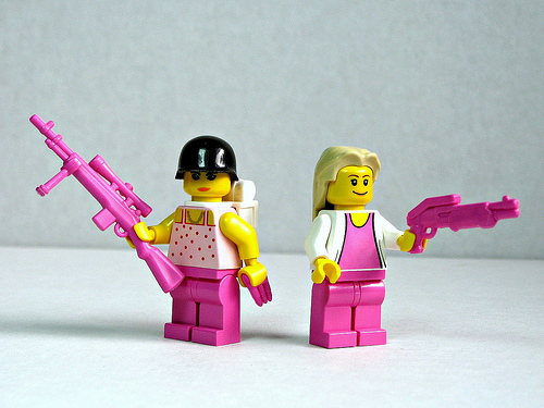 Screenshot of pink Lego ladies