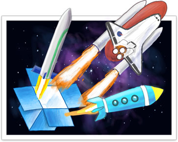Shuttle blasting off into space from a Dropbox launchpad